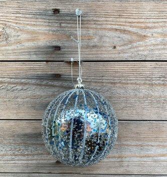 """4"""" Blue Glitter Drip Ball"""