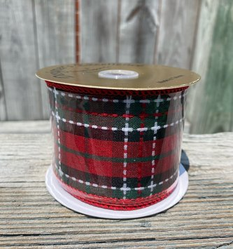 Wired Traditional Christmas Plaid Ribbon 10 Yds