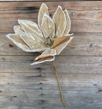 Gold Velvet Glitter Magnolia Stem