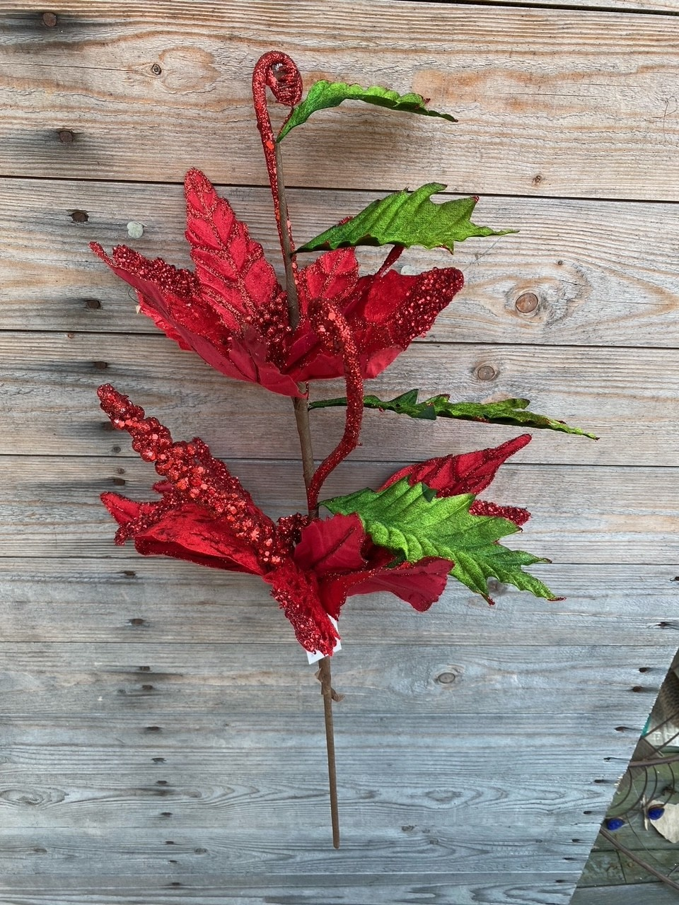 Double Red Glitter Velvet Poinsettia
