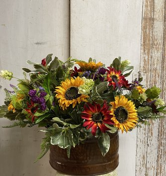 Custom Vincent's Wildflower Mix In Oval Metal Container