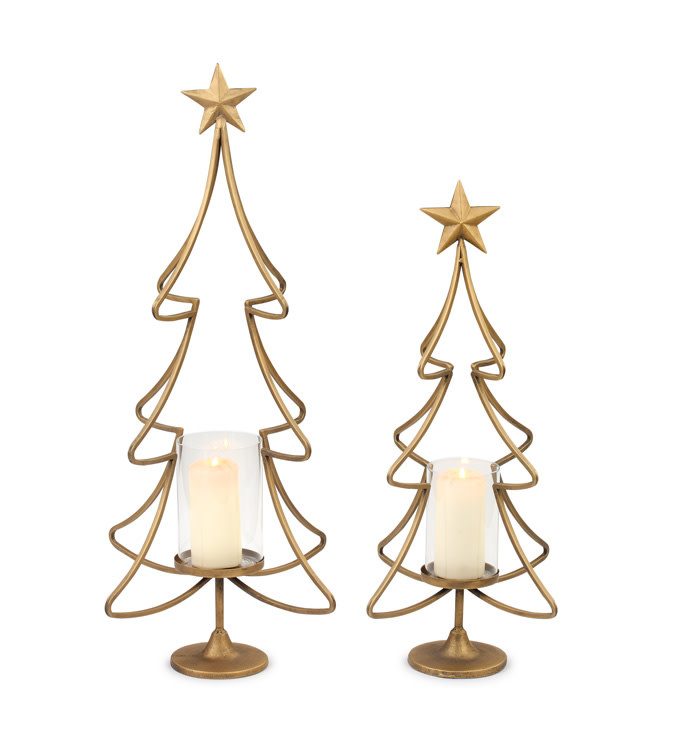 Gold Christmas Tree Candle Holder (2-Sizes)