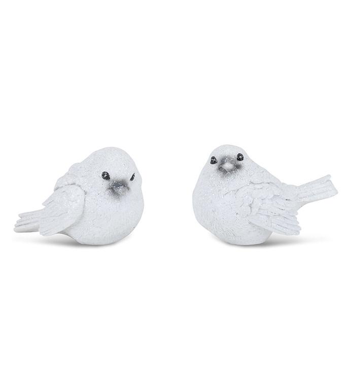 Set of 2 White Shimmer Birds