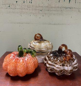 """5.7"""" Hand Blown Glass Pumpkin (3-Styles)"""
