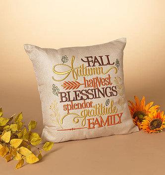 Burlap Fall Message Pillow