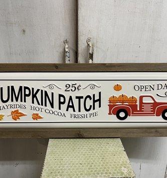 Framed Enamel Pumpkin Patch Sign