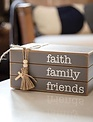 Faith Family Friends Wooden Book Stack