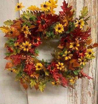 Custom Autumn Oak & Magnolia Leaves Wreath