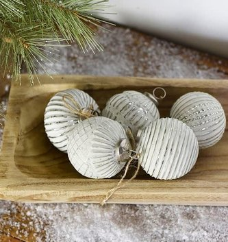 Antiqued White Silver Textured Ball Ornament