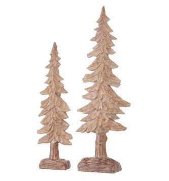 Set of 2 Carved Woodland Trees