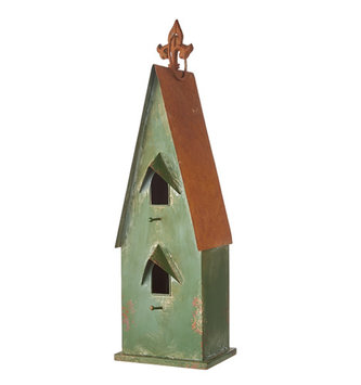 Rustic Green Metal Birdhouse