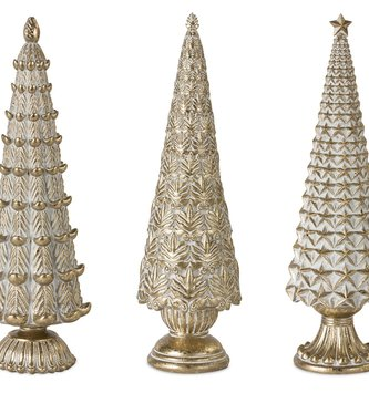 Set of 3 Gold Eclectic Christmas Trees