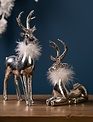 Set of 2 Silver Deer w/ Whimsical Fur Collar