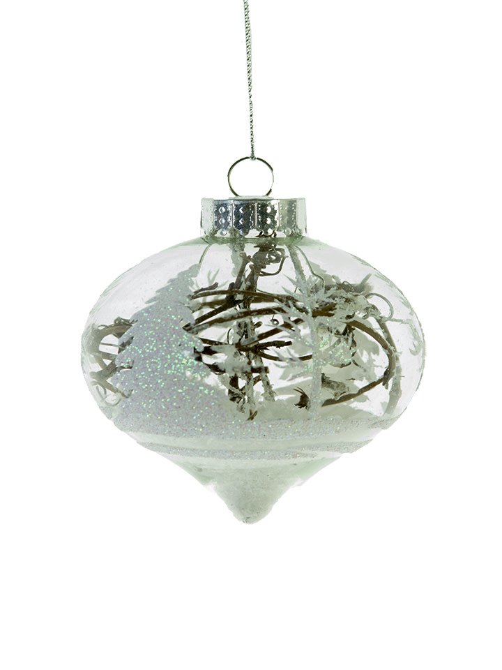 Glass Woodland Ornament w/ Twig & Snow (2-Styles)