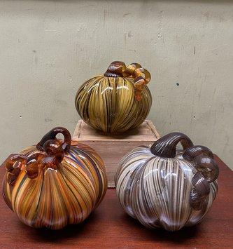Handblown Multicolor Pumpkins (3-Styles)