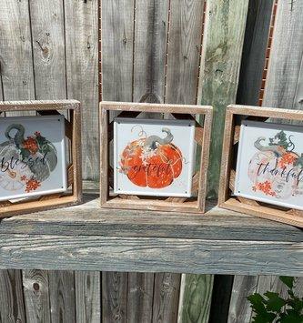 Framed Enamel Pumpkin Sign