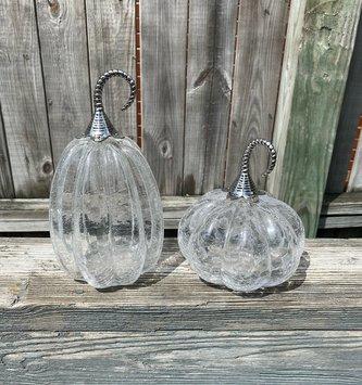 Set of 2 Crackle Glass Metal Vine Pumpkin