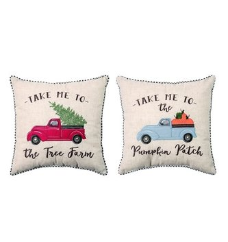 Changing Seasons Reversible Embroidered Truck Pillow