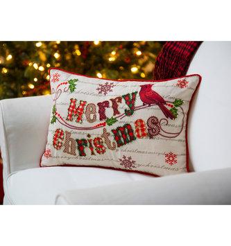 Merry Christmas Beaded Lumbar Pillow