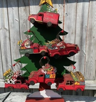 Vintage Wooden Red Truck Ornament