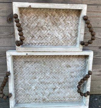 Rectangular Beaded Woven Tray (2-Sizes)