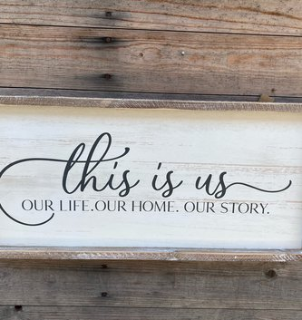 Whitewashed Framed This is Us Sign