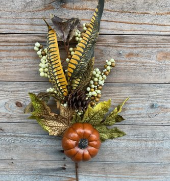 Pumpkin Berry Feather Pick (2-Colors)