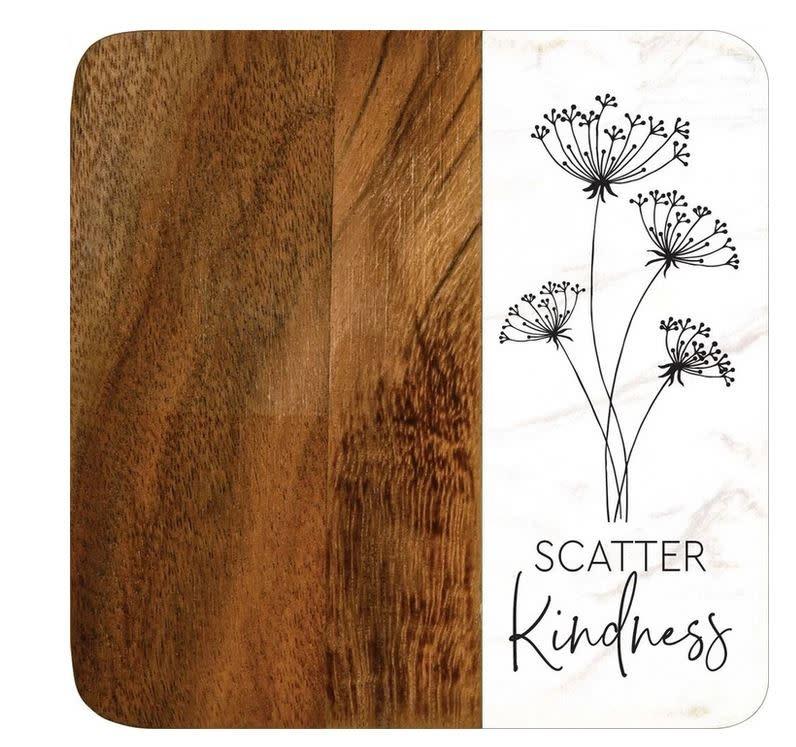Set of 4  Acacia Coasters (4-Styles)