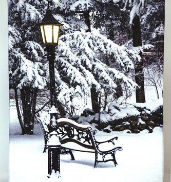 LED Tabletop Snowy Winter Scene Canvas