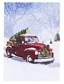 LED Tabletop Red Vintage Truck Canvas
