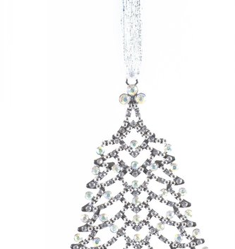 Iridescent Crystal Silver Tree Ornament