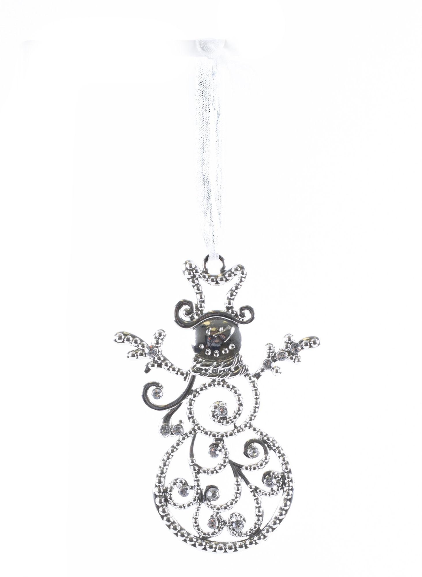 Silver Crystal Swirl Snowman Ornament