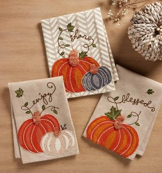 Embroidered Pumpkin Towel (3-Styles)