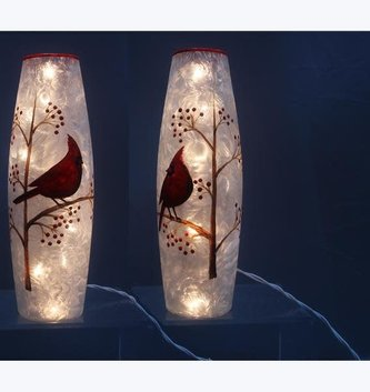 Hand Painted Frosted Cardinal Light Up Cylinder (2-Styles)