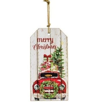 Merry Christmas Vintage Truck Tag Sign