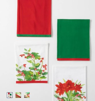 Set of 4 Christmas Botanical Tea Towels