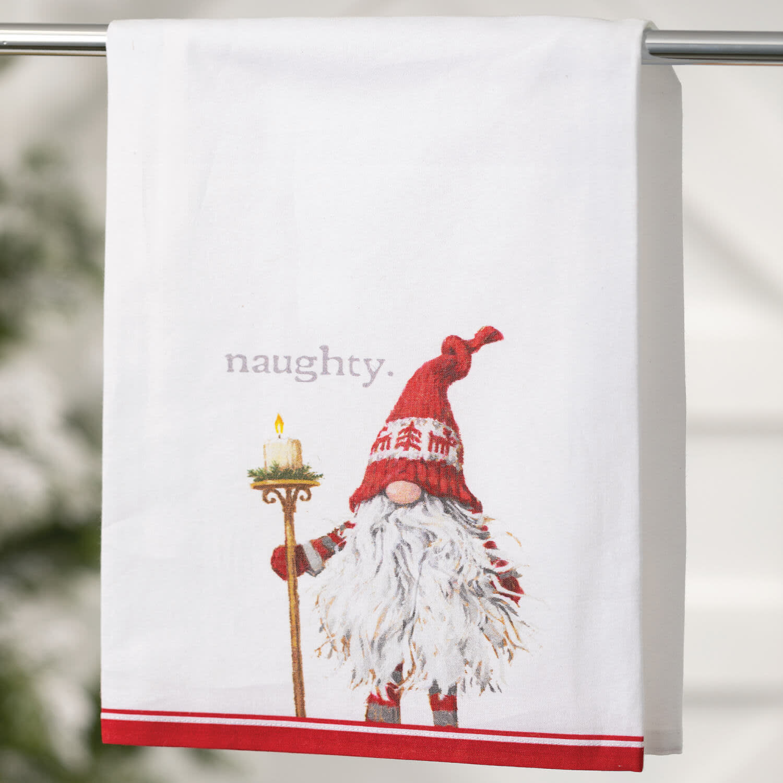 Set of 2 Naughty Nice Gnome Towel Set