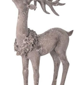 Set of 2 Gray Frosted Deer