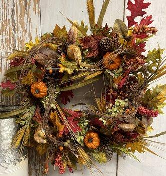 Vine Gourd & Pumpkin Wreath