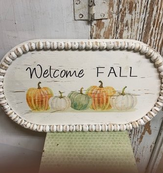 Welcome Fall Beaded Tray (2-sizes)