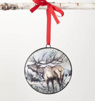 Woodland Elk Disk Ornament