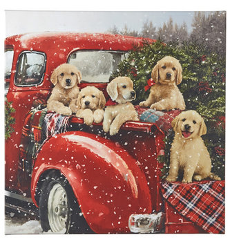 LED Puppies in Red Truck Print