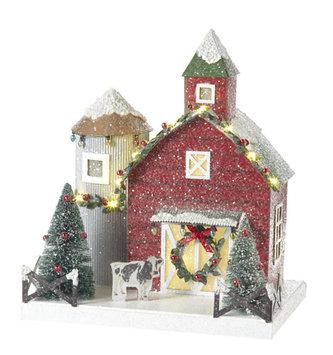 Snowy Lighted Barn w/ Silo