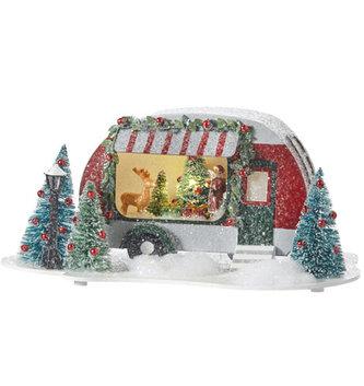 Lighted Vintage Holiday Camper Scene