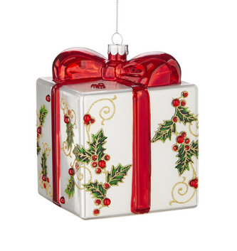 Holly w/ Jewels Present Ornament