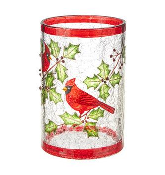 Glass Cardinal Crackle Vase