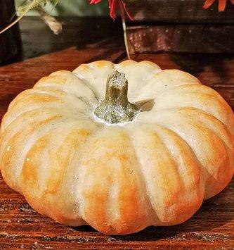 Orange Flat Pottery Pumpkin