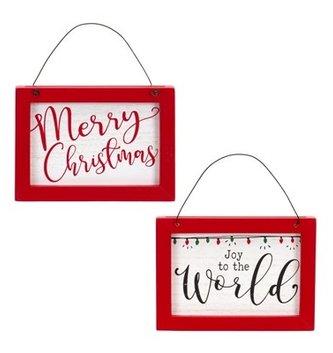 Reversible Merry Christmas & Joy to the World Ornament