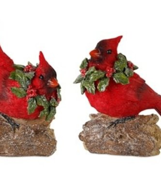 Set of 2 Carved Holly Cardinals