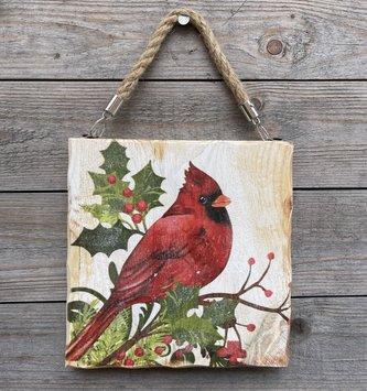 Hanging Wooden Cardinal Art